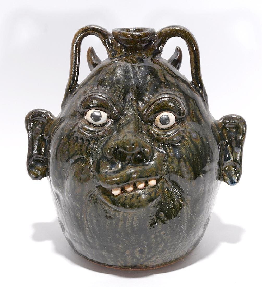 Clete Meaders. Devil & Wife Dbl-Sided Face Jug.