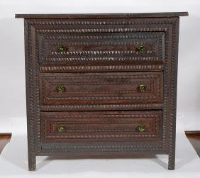 Tramp Art Chest of Drawers With Glass Pulls.