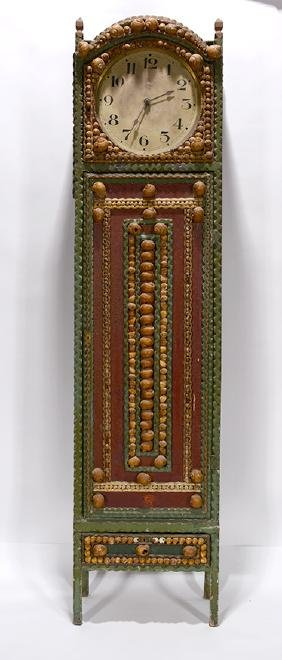 Grandfather Clock With Heavy Shell Decorations.