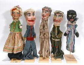 Five French Punch & Judy Puppets.