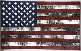 Valda Morton Petyarre.  Big American Flag.
