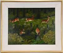 Lawrence Lebduska. Deer And Fowl In Meadow.