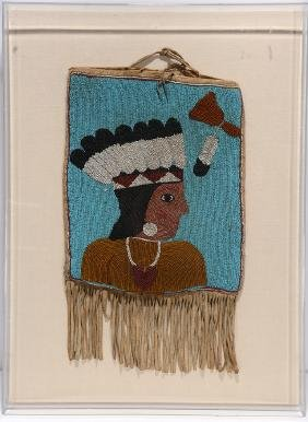 Native Am. Leather Bag & Beaded Indian Portrait.