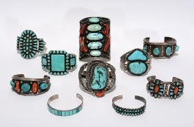 Ten Silver Turquoise and Coral Bracelets.