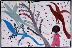Mose Tolliver. Woman Under Tree With Birds.