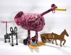 Vollis Simpson. Flamingo, Dog & Horse Carriage.