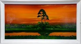Al Black. Heavy Orange Sky Over Inland River.