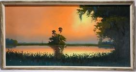 Sam Newton. Orange Sunset On Inland Lake.