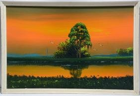 Alfred Hair (attrib). Sunset On Inland River.
