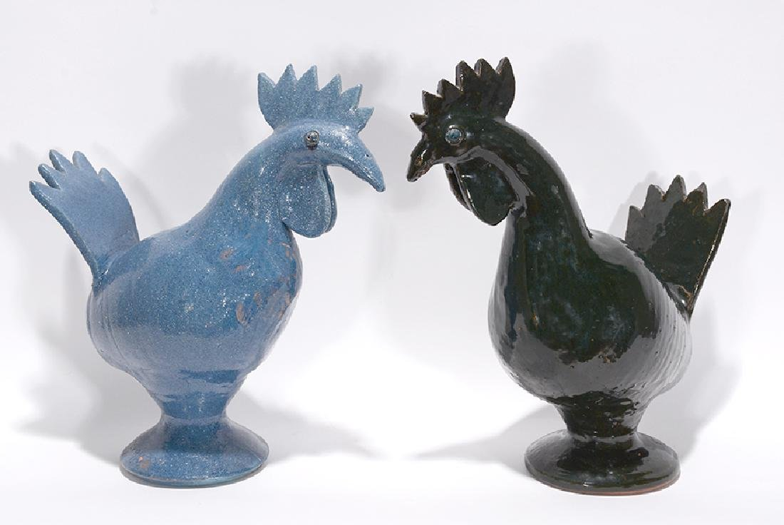 Bobby Ferguson. Pair of Black and Blue Roosters.