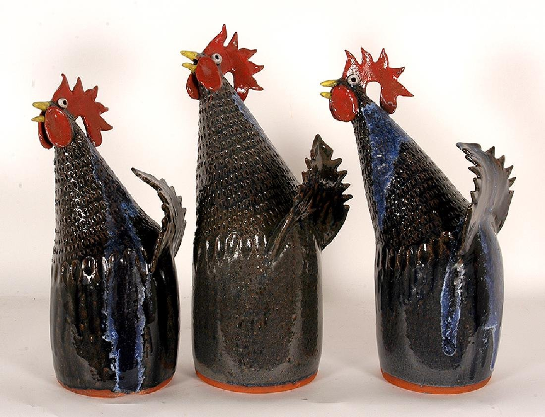 Flynn. Three Pottery Roosters.