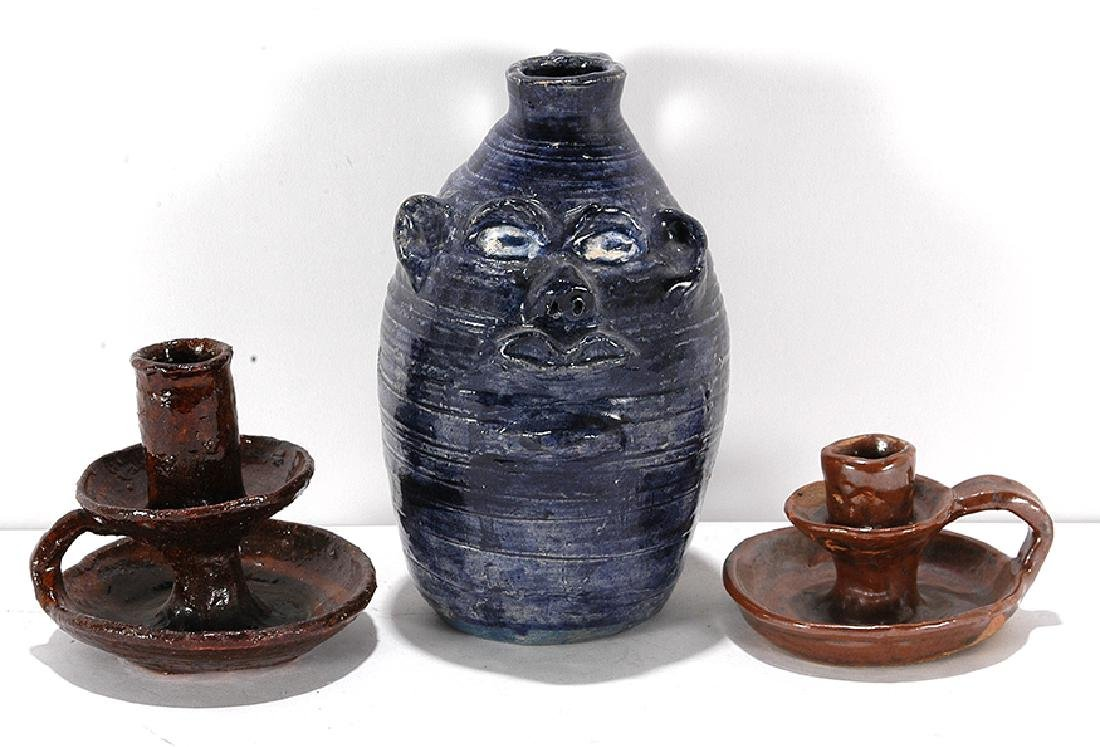 Marie Rogers. Blue Face Jug with Candlesticks.