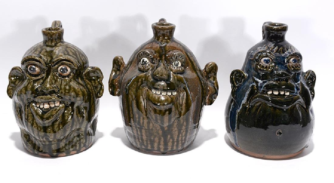Clete Meaders, Jr. Three Face Jug.