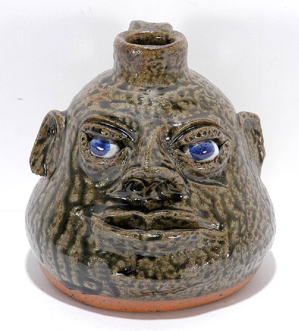 Cleater & Billie Meaders. Small Squat Face Jug.