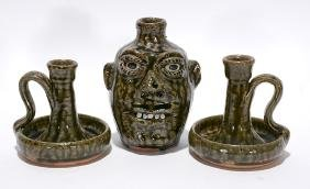 C. & B. Meaders. Face Jug With 2 Candlestick Holders.