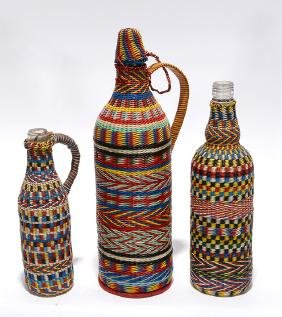 3 Glass Bottles With Colorful Telephone Wire.