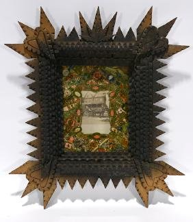 Tramp Art Frame With Cigar Label Decoupage & Photo.