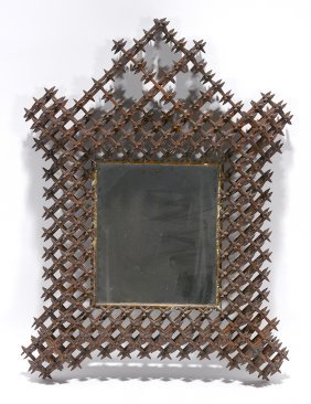 Tramp Art Crown Of Thorn Mirror.