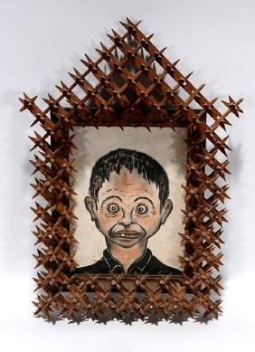 Crown Of Thorn Frame w Stereotypical Painting.