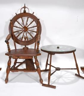 Ship Wheel Captains Chair & Side Table.