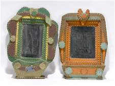 Tramp Art Wall Hanging Pockets with Mirrors.