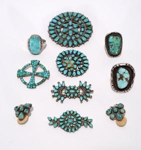 Navajo Silver & Turquoise 5 Pins & 3 Rings.