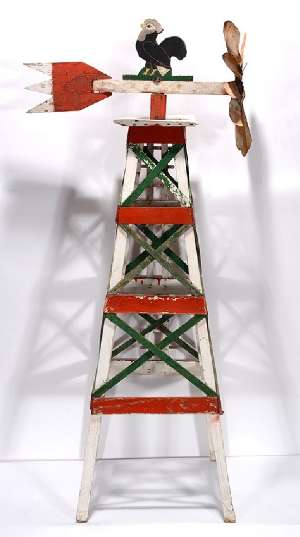 Rooster Top Whirligig On Oil Well Platform.