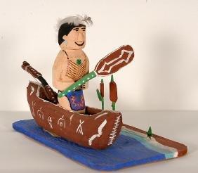 Delbert Buck. Indian In A Canoe.