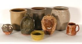 Cole, Crocker & Others. 8 Pottery Pieces.