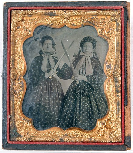 1: Sisters with Swords Ambrotype