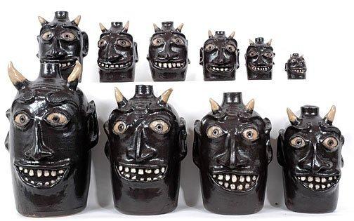 1: Robert Jackson Set of 10 Black Devil Face Jugs