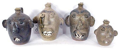 10: D. B. Garner Set of four Face Jugs.
