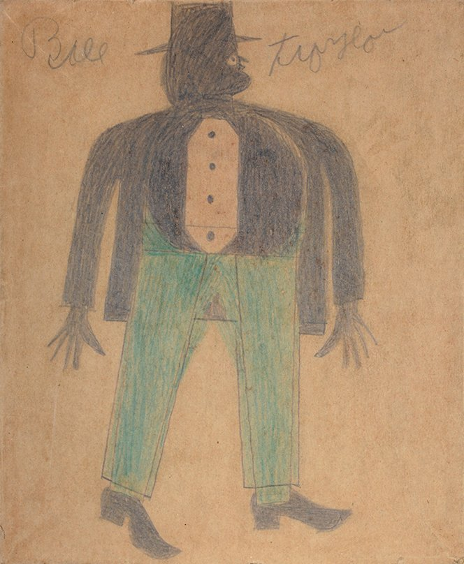 Bill Traylor. Portrait Of A Well Dressed Man.
