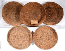 4 Rice Fanner Plantation Baskets & 1 Vegetable Basket.