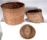 3 Large Cotton Harvest Work Baskets.