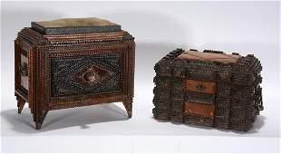 Pair of Tramp Art Felt Top Sewing Boxes