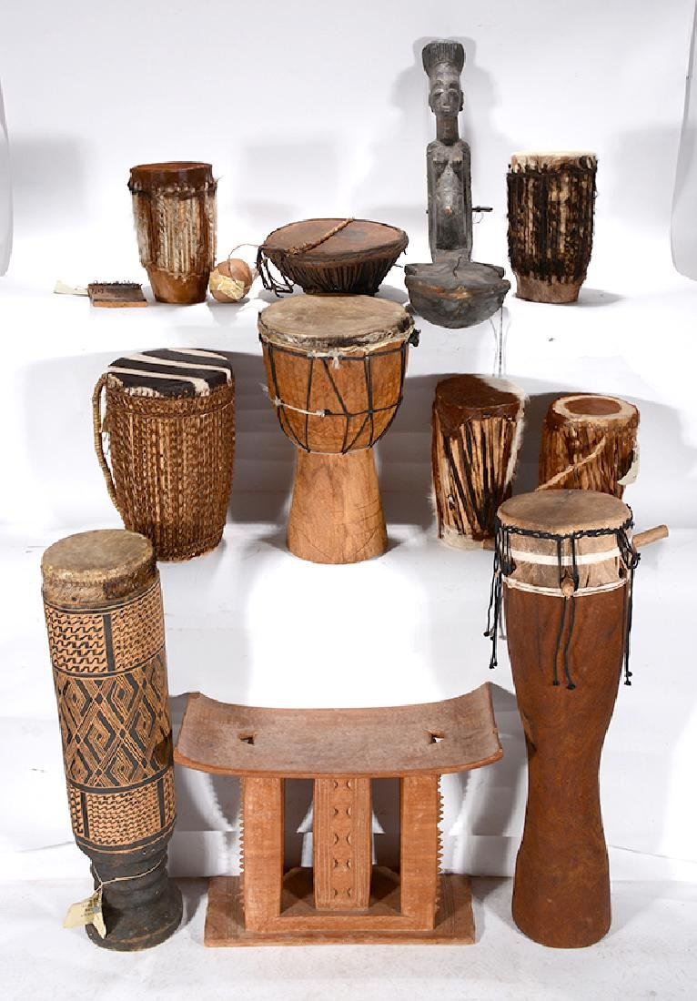 African Drums, Musical Instruments, Chieftainu0027s Stool.