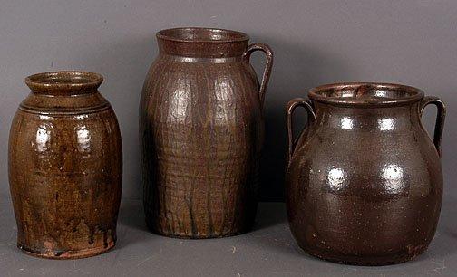 4: Bill Dorsey (attributed) Churn, Bean Pot, Pickle Jar