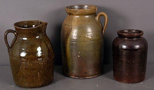 17: Georgia Pottery Three Churns.
