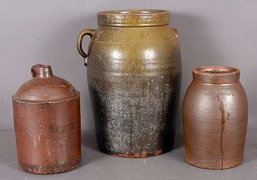 20: Brown Pottery Group of Three Pots.