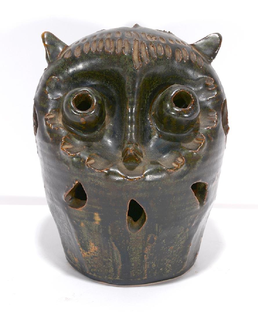 Dark Green Pottery Owl Luminary.