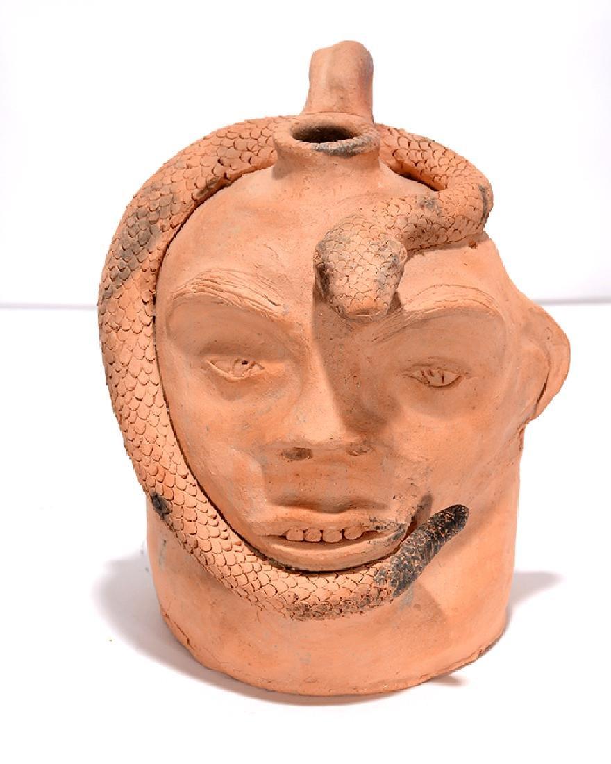 Clint Alderman. Dbl-Sided Face Jug w Snake.
