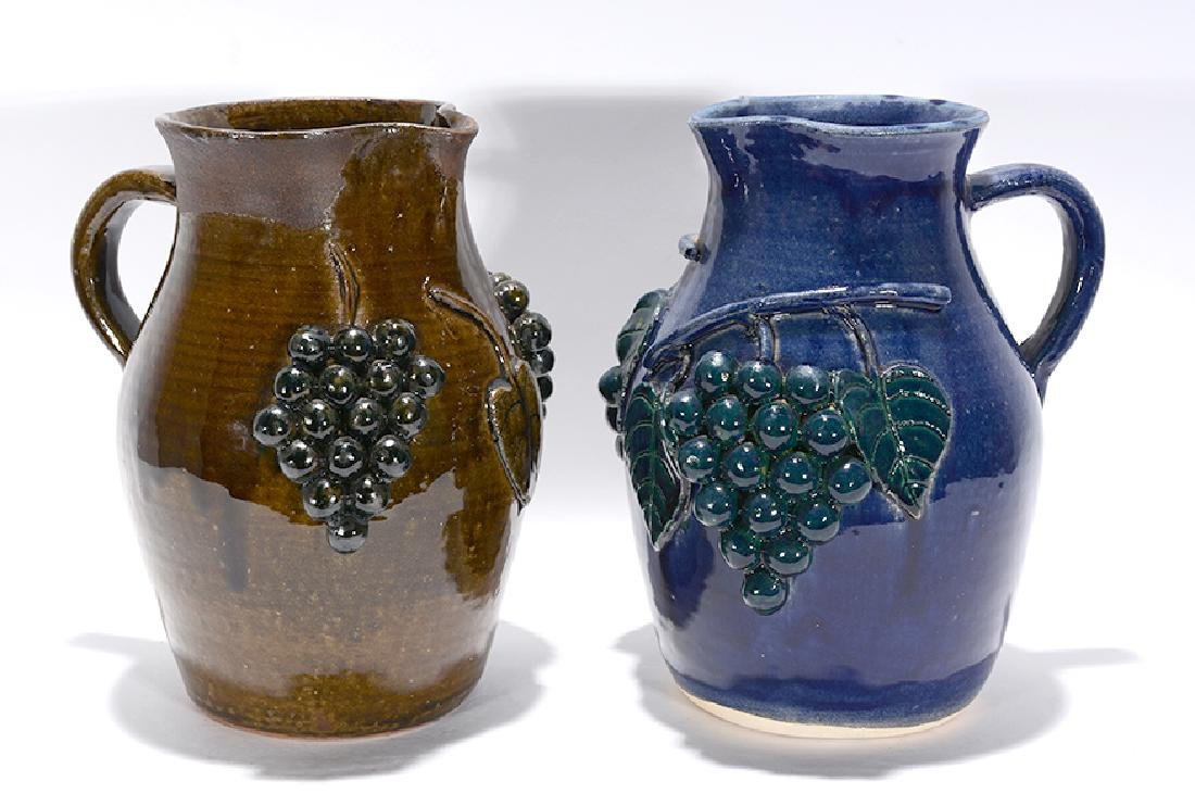 Edwin Meaders. Green & Blue Grape Pitchers.