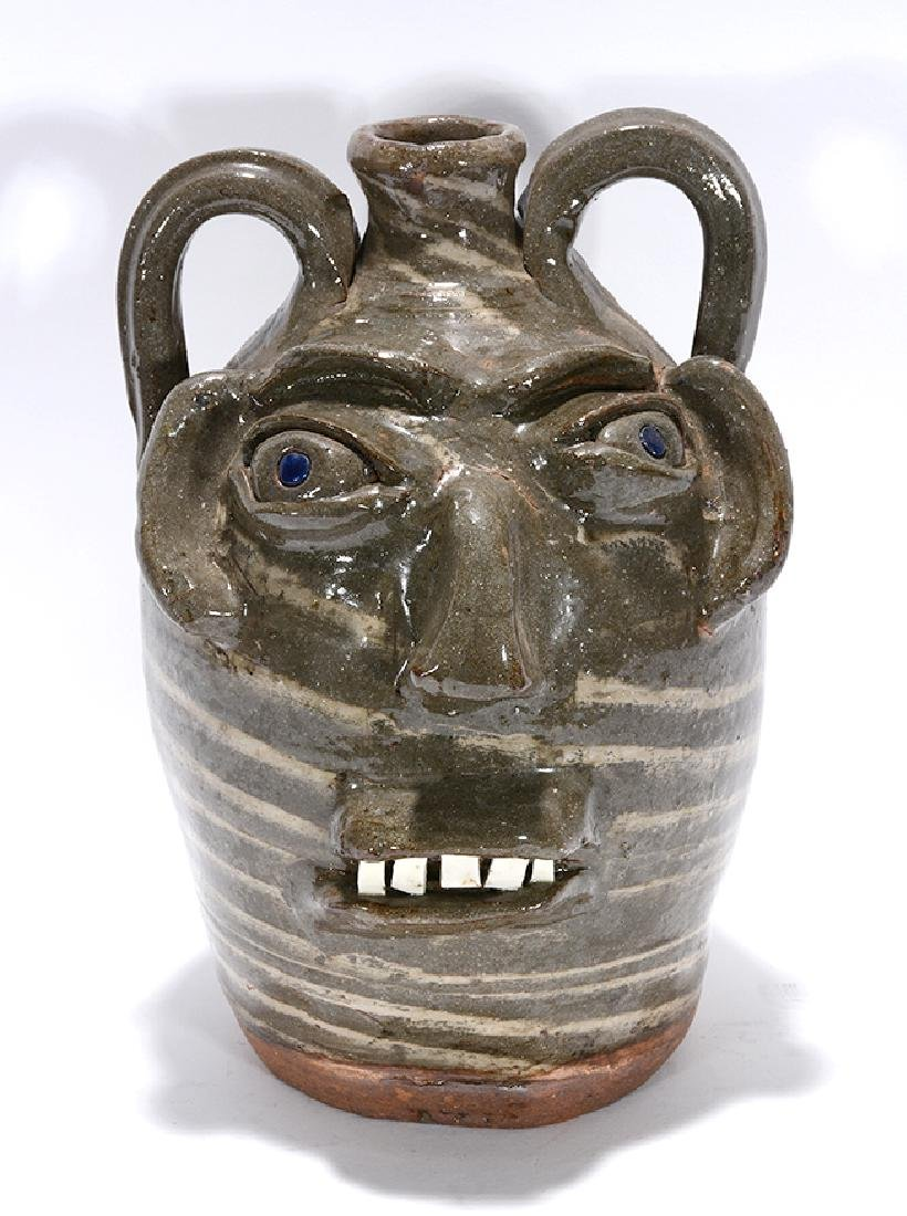 B.B. Craig. Two-Color Swirl Face Jug.