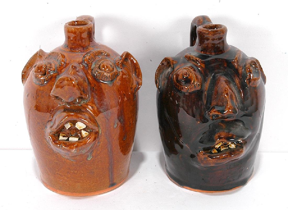 Brown Pottery. Pint Sized Face Jugs.