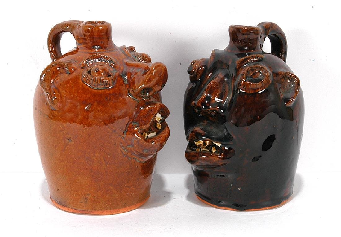 Brown Pottery. Pint Sized Face Jugs. - 2