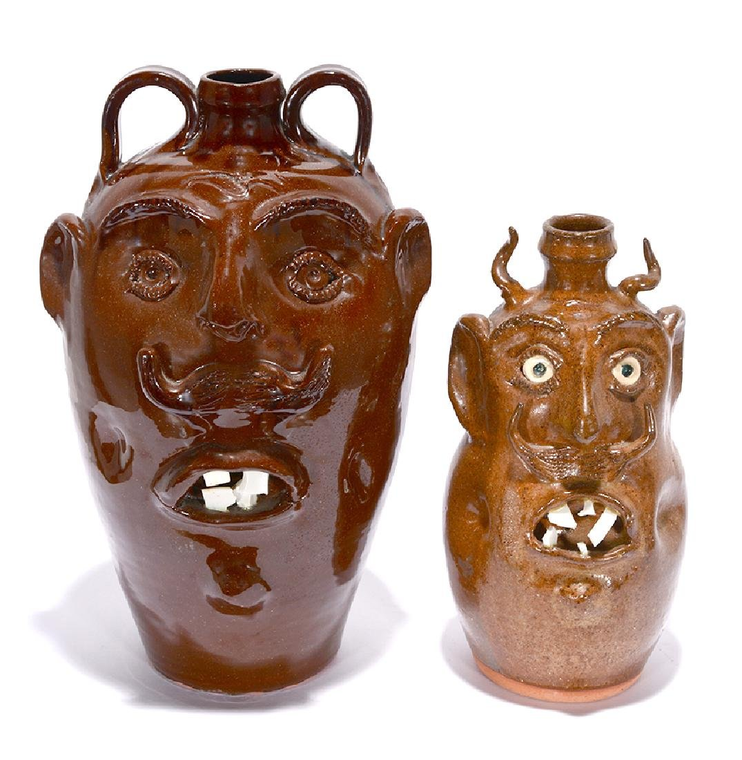 R.A. Oakland Pottery. Face Jugs.