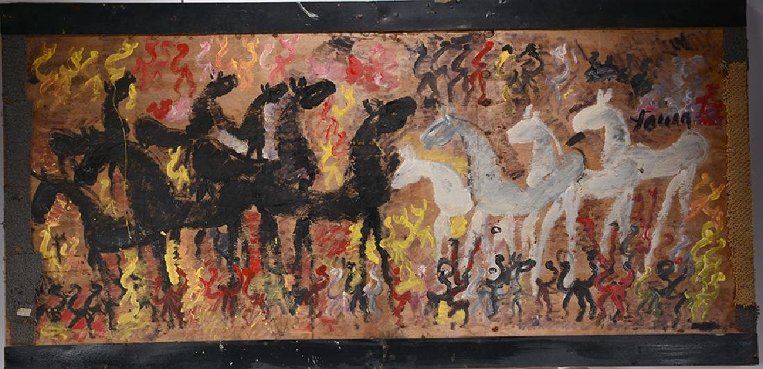 Purvis Young. Blk & White Horses.