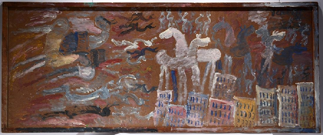 Purvis Young. Horses Over Cityscape.