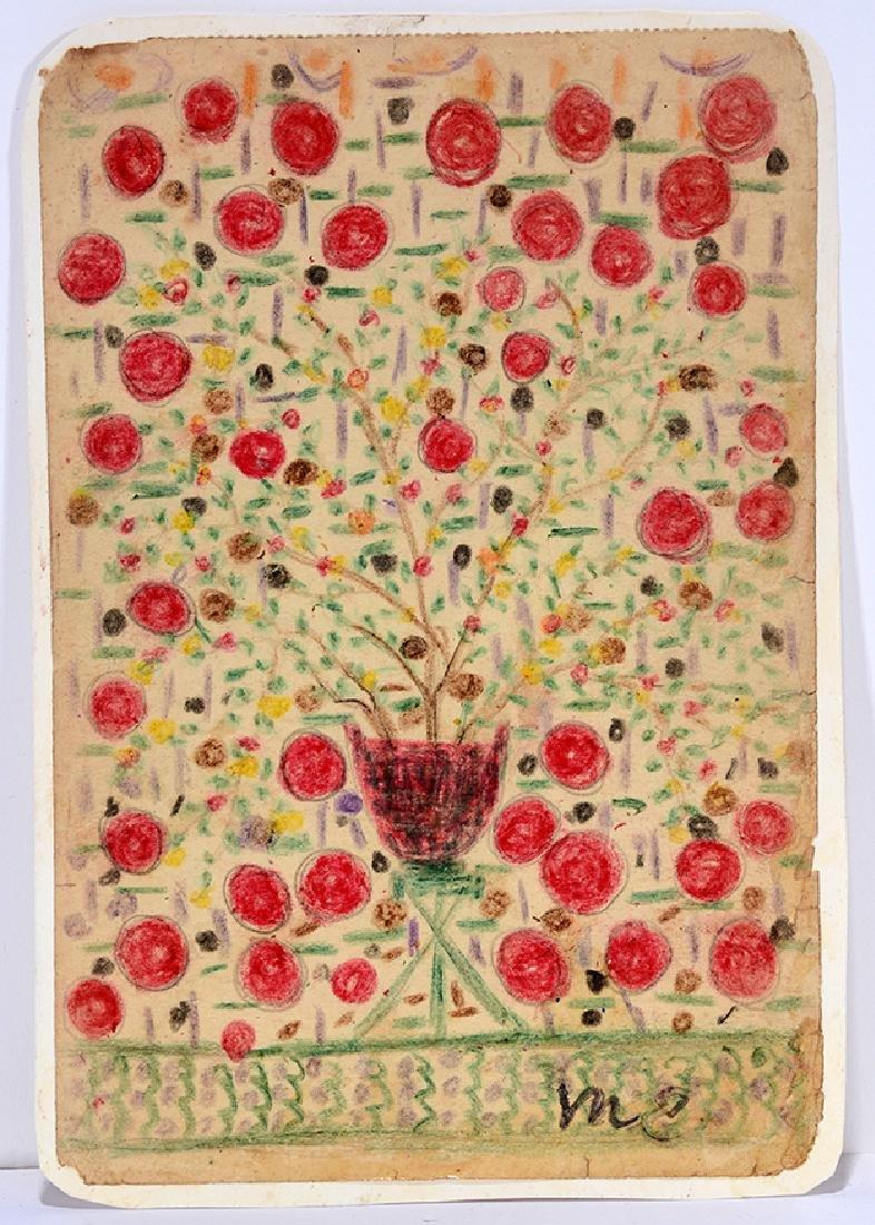 Minnie Evans. Red Rose Still Life.